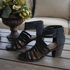 Lucky Brand Kyndrah Strappy Heeled Sandals Black
